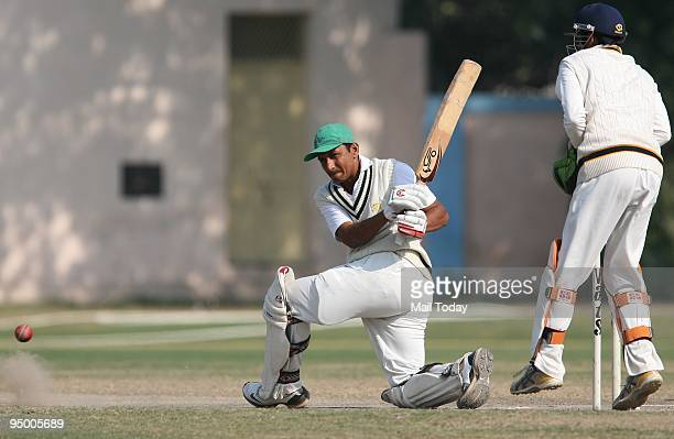 Sanjay Bangar of Railways in action during their final Super League match against Punjab in New Delhi on Friday December 18 2009 The match ended in a...