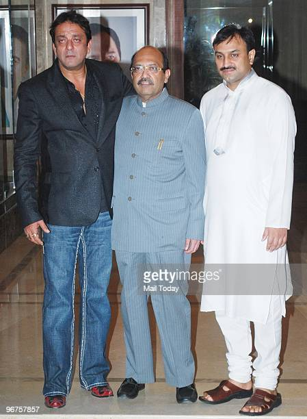 Sanjay Dutt and Amar Singh at a party to celebrate the wedding anniversary of Sanjay and Maanyata Dutt in Mumbai on February 11 2010