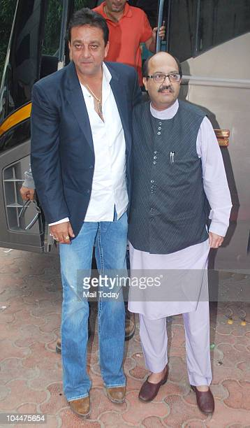 Sanjay Dutt and Amar Singh on the sets of the show Entertainment Ke Liye Kuch Bhi Karega in Mumbai on September 24 2010