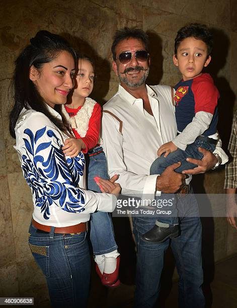 Sanjay Dutt and Manyata Dutt at the special screening of film PK in Mumbai