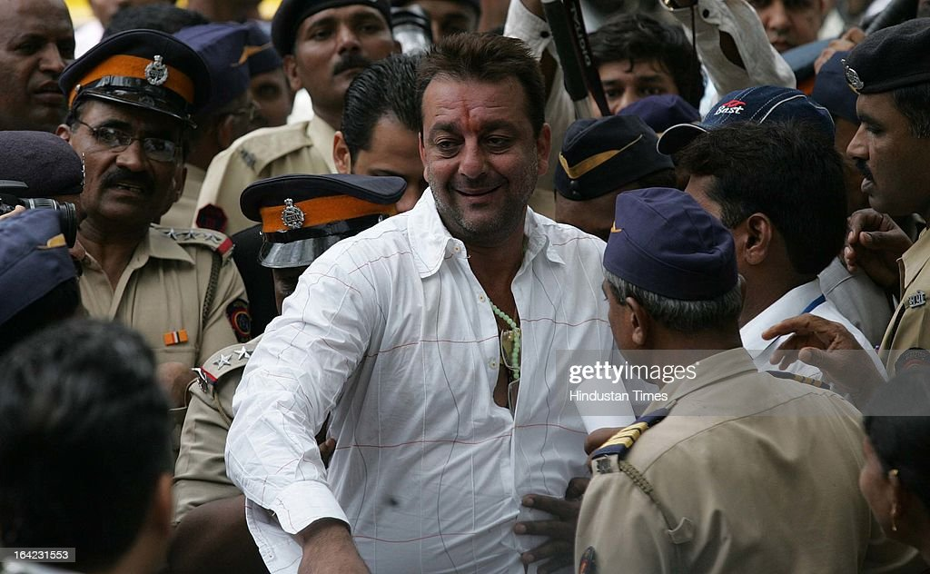Sanjay Dutt arrives at a special court to stand trial for the 1993 Mumbai blast on July 31, 2007 in Mumbai, India. On March 21, 2013 after 20-year-long judicial proceedings in 1993 Mumbai Serial Bomb Blasts Case, Supreme Court upheld the death sentence of Yakub Abdul Razak Memon, a key conspirator with Dawood Ibrahim in the 1993 Mumbai serial blasts, and ordered that Bollywood actor Sanjay Dutt return to jail to serve three-and-a-half years sentence for possessing illegal arms. 257 people were killed in serial blasts in Mumbai on March 12, 1993.