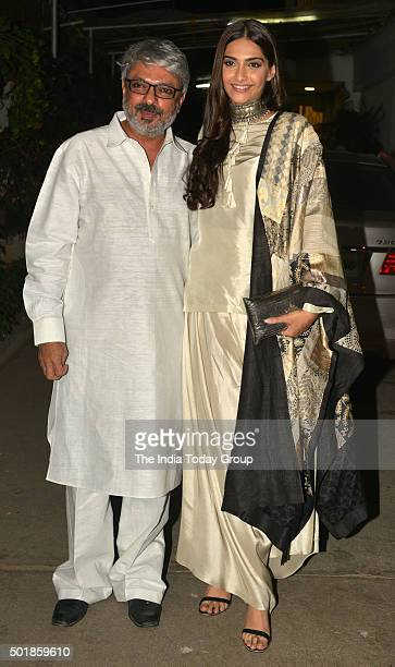 Sanjay Leela Bhansali and Sonam Kapoor at the Special Screening of Bajirao Mastani in Mumbai