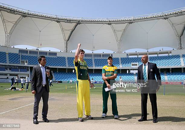Sanjay Manjrekar Alex Gregory captain of Australia Aiden Markram captain of South Africa and Graeme La Brooy during the toss prior to the start...
