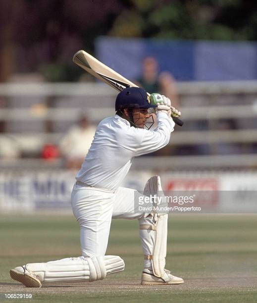 Sanjay Manjrekar batting for India during his innings of 104 runs in the inaugural Test match between Zimbabwe and India at the Harare Sports Club...
