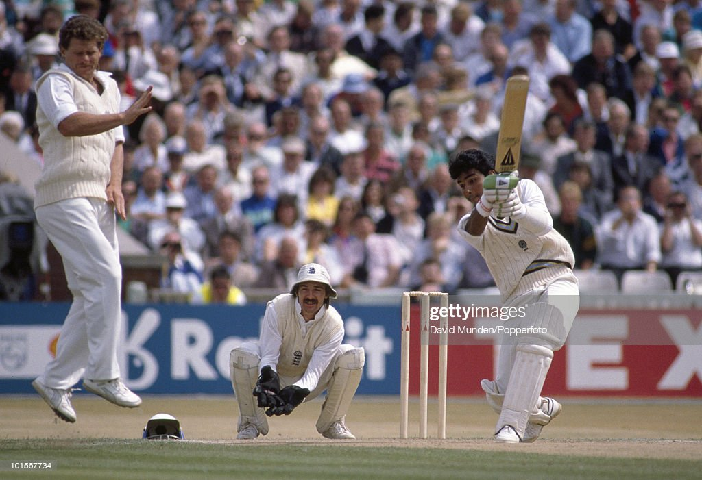 Sanjay Manjrekar batting for India during his innings of 93 on the third day of the 2nd Test match between England and India at Old Trafford in Manchester, 11th August 1990. The England wicketkeeper is Jack Russell and the fielder taking evasive action is Robin Smith (left). The match ended in a draw.