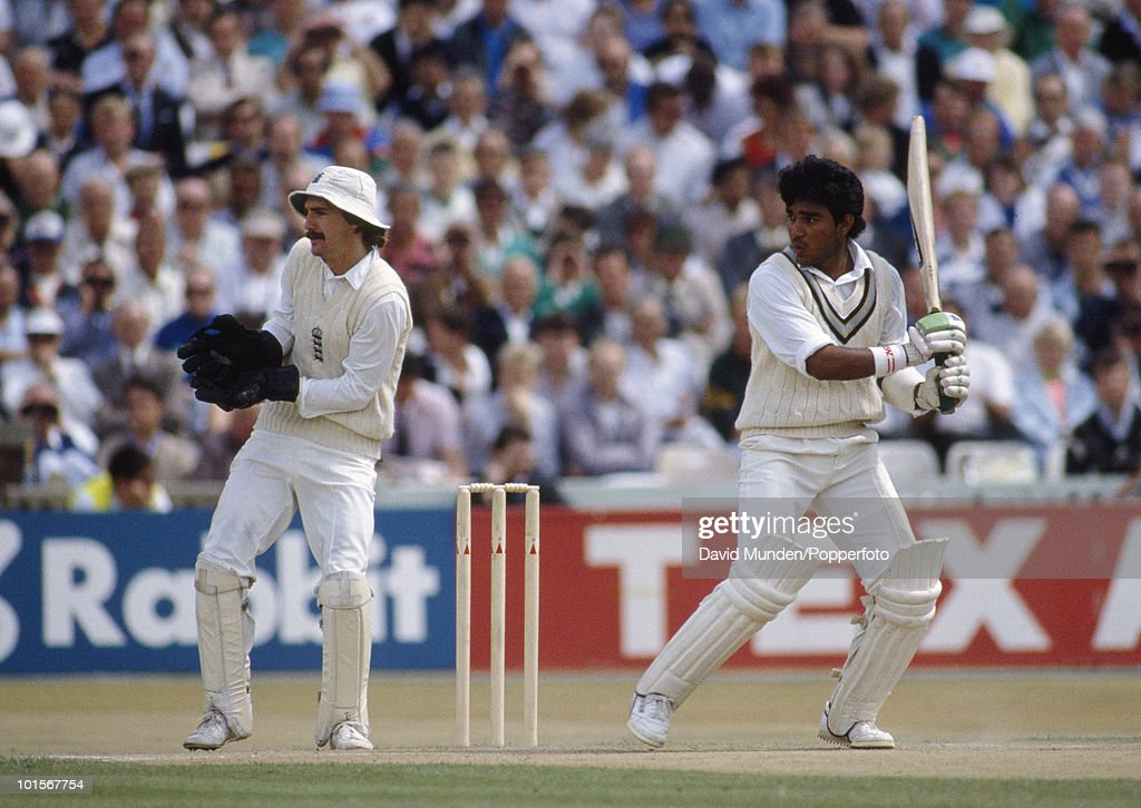 Sanjay Manjrekar batting for India during his innings of 93 on the third day of the 2nd Test match between England and India at Old Trafford in Manchester, 11th August 1990. The England wicketkeeper is Jack Russell. The match ended in a draw.