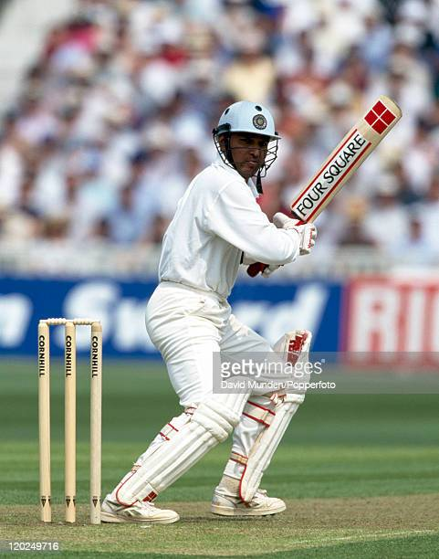 Sanjay Manjrekar batting for India during the 1st Test match between England and India at Edgbaston in Birmingham 6th June 1996 England won the match...