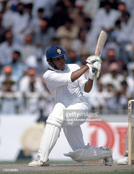 Sanjay Manjrekar batting for India during the Champions Trophy tournament in Sharjah United Arab Emirates during 1991