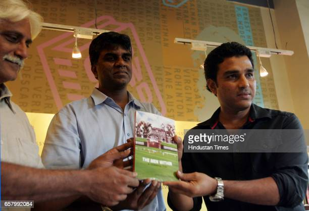 Sanjay Manjrekar Harimohan Paruva and Ayaz Memon at the launch of new book The Men Withina cricketing tale at Crossroad Kemps Corner in Mumbai