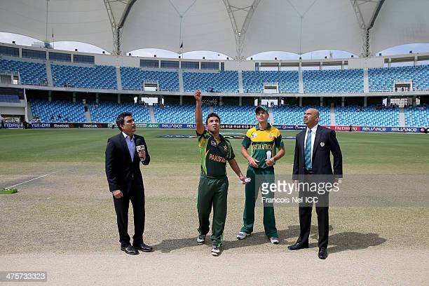 Sanjay Manjrekar Sami Aslam captain of Pakistan Aiden Markram captain of South Africa and Graeme La Brooy during the toss prior to the start of the...