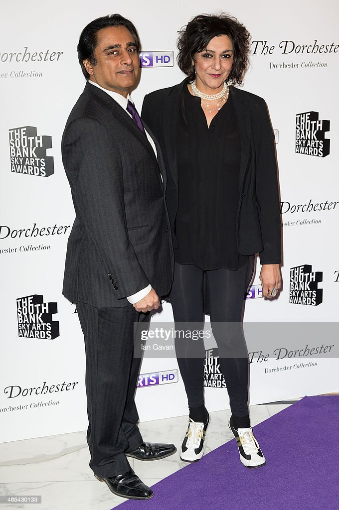 Sanjeev Bhaskar and Meera Syal attend the South Bank Sky Arts awards at Dorchester Hotel on January 27 2014 in London England