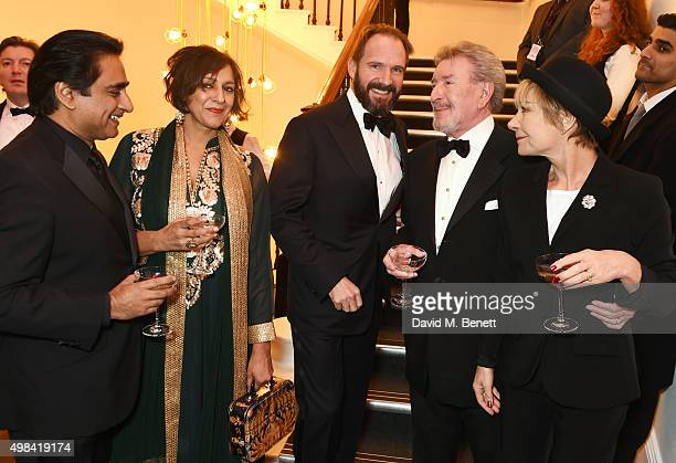 Sanjeev Bhaskar Meera Syal Ralph Fiennes Gawn Grainger and Zoe Wanamaker attend a champagne reception ahead of The London Evening Standard Theatre...