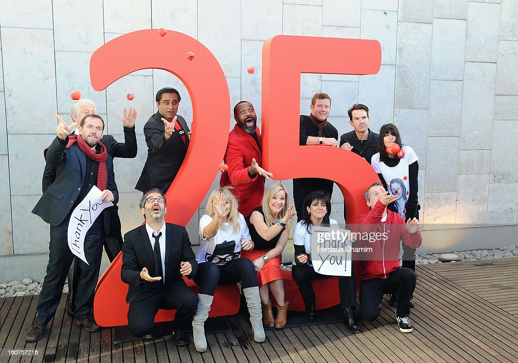 Sanjeev Bhaskhar,Richard Curtis, Dermot O'Leary, Jimmy Carr, Ben Miller, Kate Thornton, Claudia Winkleman, Emma Freud, Frank Skinner and Helen Skelton attend a photocall to celebrate 25 yeas of Red Nose Day for Comic Relief at Southbank Centre on February 5, 2013 in London, England.