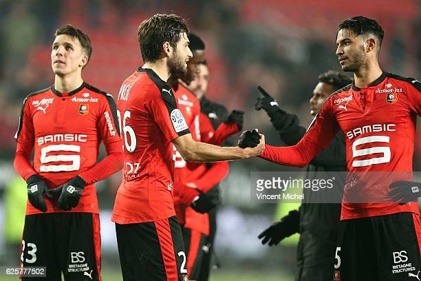 Sanjin Prcic of Rennes and Pedro Mendes of Rennes during the French Ligue 1 match between Rennes and Toulouse at Roazhon Park on November 25 2016 in...