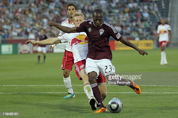 Sanna Nyassi of the Colorado Rapids beats the defense of Tim Ream of the New York Red Bulls to score his second goal of the game in the 31st minute...
