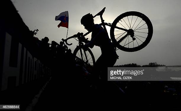 Sanne Cant of Belgium competes during the women's race at the UCI World cyclocross World championships on January 31 2015 in Tabor Czech Republic...