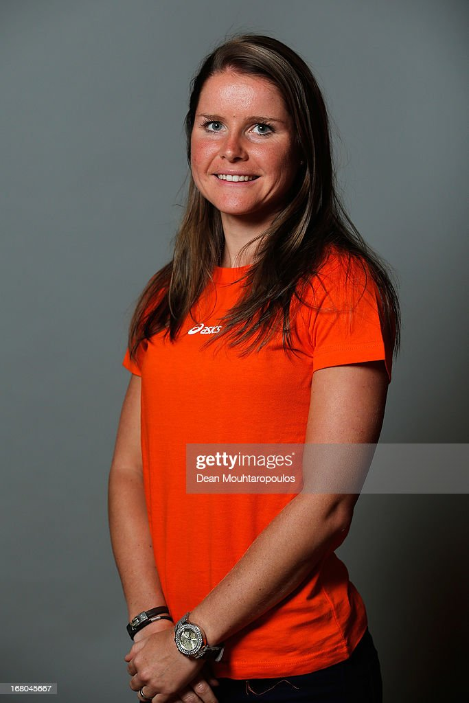 Sanne Kerkhof, poses during the NOC*NSF (Nederlands Olympisch Comite * Nederlandse Sport Federatie) Sochi athletes and officials photo shoot for Asics at the Spoorwegmuseum on May 4, 2013 in Utrecht, Netherlands.