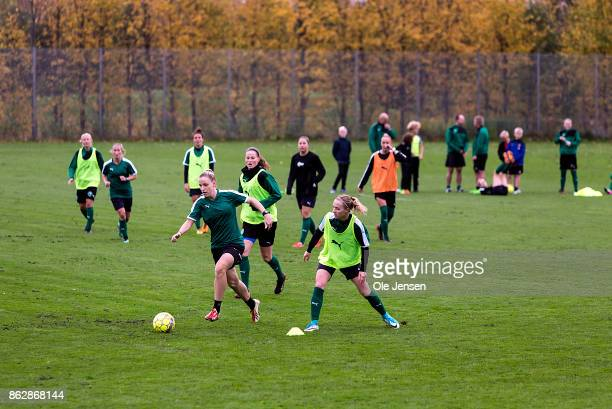 Sanne Troelsgaard and team mates of the Danish national women's football team train prior to the planned World Cup qualifying match in Gothenburg...