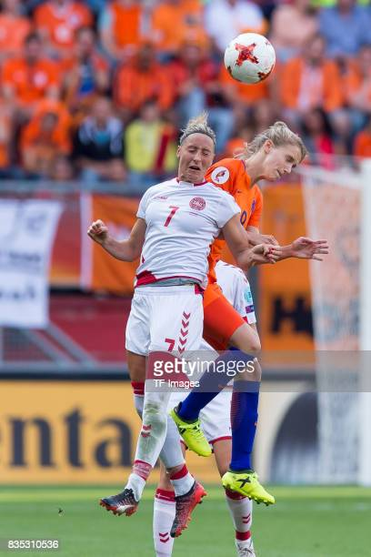 Sanne Troelsgaard of Denmark and Vivianne Miedema of the Netherlands battle for the ball during the UEFA Women's Euro 2017 final match between...