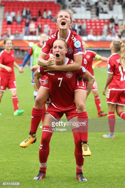 Sanne Troelsgaard of Denmark women Katrine Veje of Denmark women during the UEFA WEURO 2017 quarter finale match between Germany and Denmark at the...