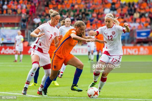 Sanne Troelsgaard of Denmark women Lieke Martens of Holland Women Stine Larsen of Denmark women during the UEFA WEURO 2017 final match between The...
