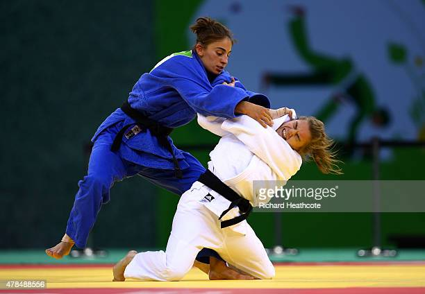 Sanne Verhagen of the Netherlands and Nora Gjakova of Kosovo compete in the Women's Judo 57kg Bronze Final during day thirteen of the Baku 2015...