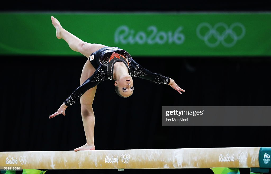 Sanne Wevers of the Netherlands on her way to winning Gold in the Final of The Beam at Rio Olympic Arena on August 15, 2016 in Rio de Janeiro, Brazil.