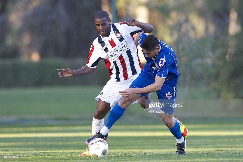 Sanny Monteiro of Willem II, Mahroun Jugurtha of Karabukspor during the match between Willem II and Karabukspor on January 10, 2013 at Belek, Turkey.