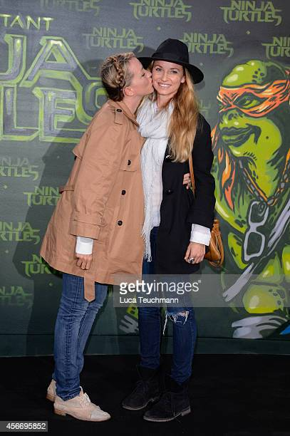 Sanny van Heteren attends the Berlin premiere of the film 'Teenage Mutant Ninja Turtles' at UFO Sound Studio at Musikbrauerei Berlin on October 5...