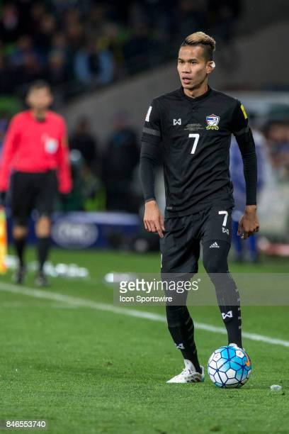 Sanrawat Dechmitr of the Thailand National Football Team looks for options during the FIFA World Cup Qualifier Match Between the Australian National...