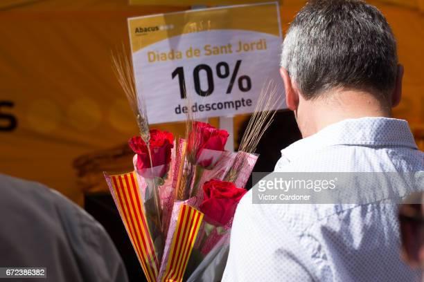 Sant Jordi's day celebration in Barcelona, Catalonia - Saint George's day