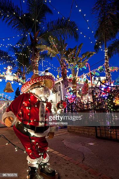 Santa and palm trees covered in Christmas lights
