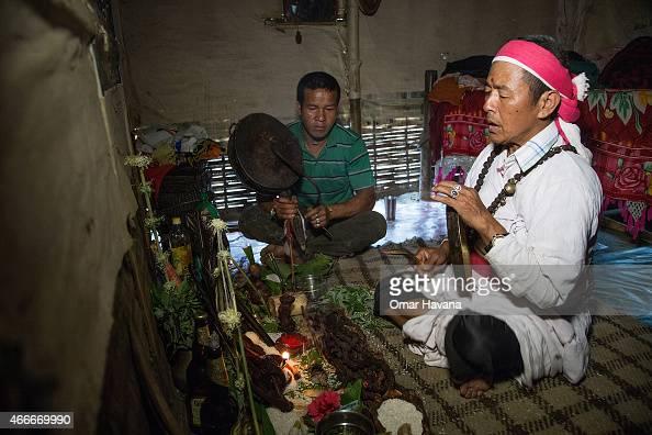 Santa Bahadur Rai a 64 years old shaman performs a Shaman ritual inside one of the neighbouring houses of Beldangi 1 refugee camp to help cure an...