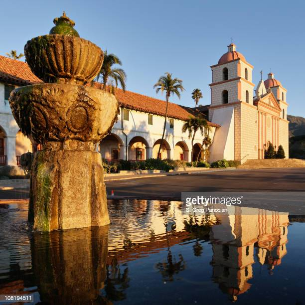 Santa Barbara Mission and Fountain at Sunrise