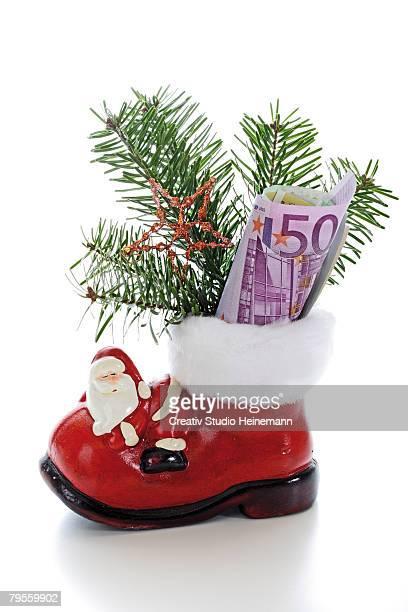 Santa boot with money
