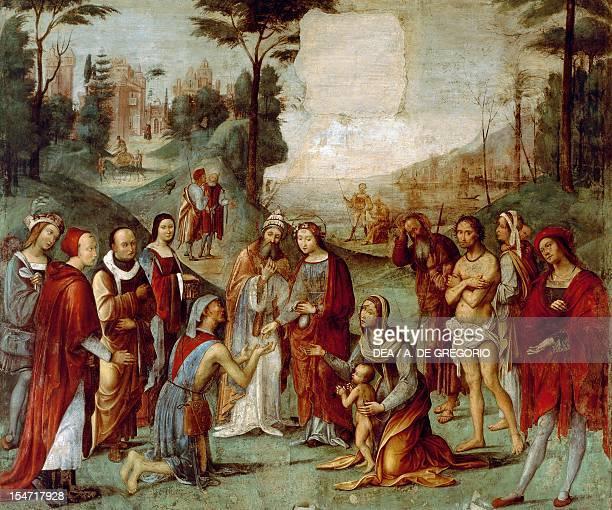 Santa Cecilia giving her possessions to the poor ca 1506 by Lorenzo Costa fresco Oratory of Santa Cecilia Bologna EmiliaRomagna Italy 16th century