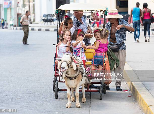 Santa Clara attractions and tours Traditional goat rides for children at the Main Square Parque Vidal a major tourist attraction in Santa Clara Cuba...