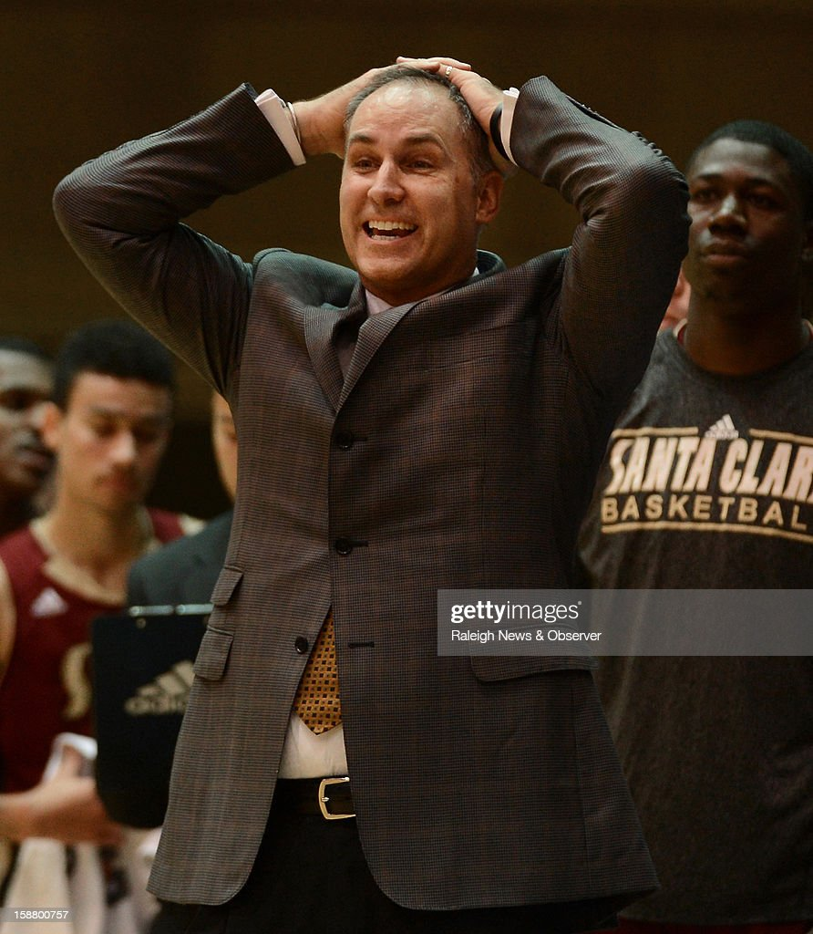 Santa Clara head coach Kerry Keating reacts after one of his players fouls out of the game against Duke in the second half at Cameron Indoor Stadium in Durham, North Carolina, Saturday, December 29, 2012. Duke beat Santa Clara, 90-77.