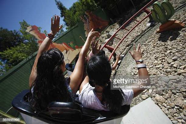 Santa Clarita Ca August 3 2011 The Road Runner Express at Six Flags Magic Mountain is a roller coaster that was recycled from an amusement park in...