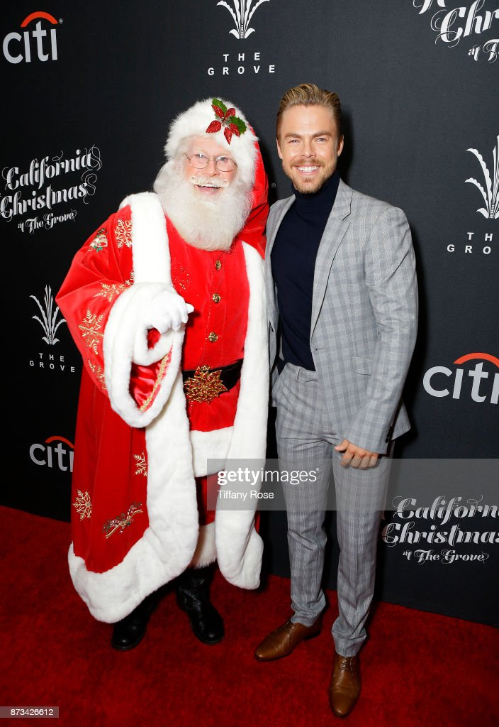 Santa Claus and Derek Hough at A California Christmas at the Grove Presented by Citi on November 12, 2017 in Los Angeles, California.