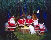 Santa Claus and teddy bears wearing Santa Claus costume in forest, front view
