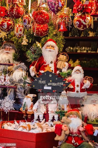 Santa Claus and Xmas decoration at the Christmas Market