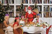 Santa Claus at Christmas dinner