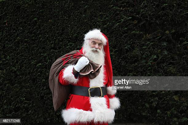 Santa Claus carrying sack over shoulder