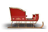 Santa Claus sleigh on a white background with clipping path.