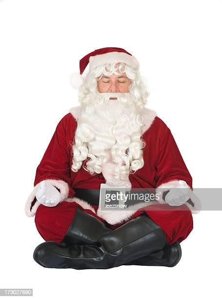 Santa Claus Doing Yoga and Meditating