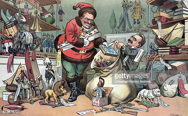 Santa Claus elect preparing for Christmas' President Theodore Roosevelt as Santa Claus gathering gifts such as 'Consulship Ambassadorship Secretary...