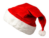 santa claus cap isolated on white background. santa claus red hat. hat with pompom