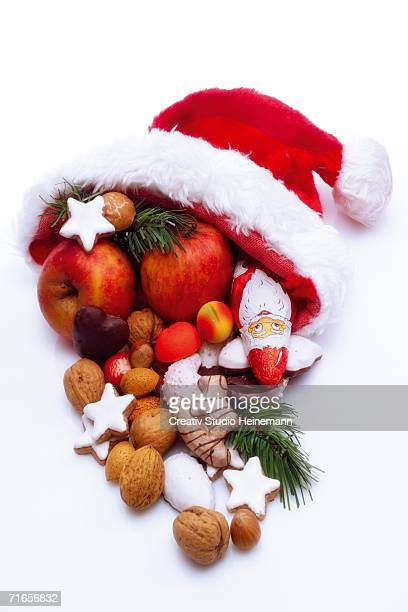 Santa Claus hat with fruits, close-up