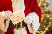 Santa claus holding letter